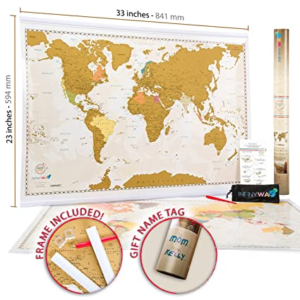 Amazon large scratch off map of the world with frame included large scratch off map of the world with frame included and special name tag gift pack gumiabroncs Image collections