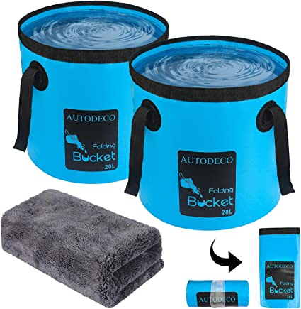 2 Pack Collapsible Buckets,Camping Water Storage Container 5 Gallon 20L Portable Folding Bucket Wash Basin for Traveling Hiking Fishing Boating Gardening Blue