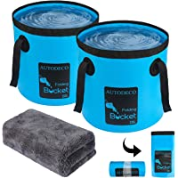 AUTODECO 2 Pack Collapsible Bucket 5 Gallon Container Folding Water Bucket Portable Wash Basin for Outdoor Travelling…