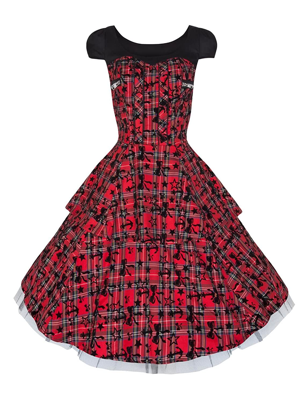 0c1bbe910d Vintage   Alternative Style Red Black Tartan Flocked Tattoo Zip Detail  Rockabilly Dress (08)  Amazon.co.uk  Clothing