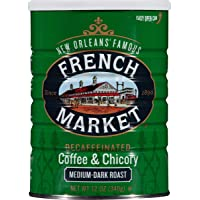 French Market Coffee, Coffee and Chicory, Decaffeinated Medium-Dark Roast Ground Coffee, 12 Ounce Can (Pack of 3)