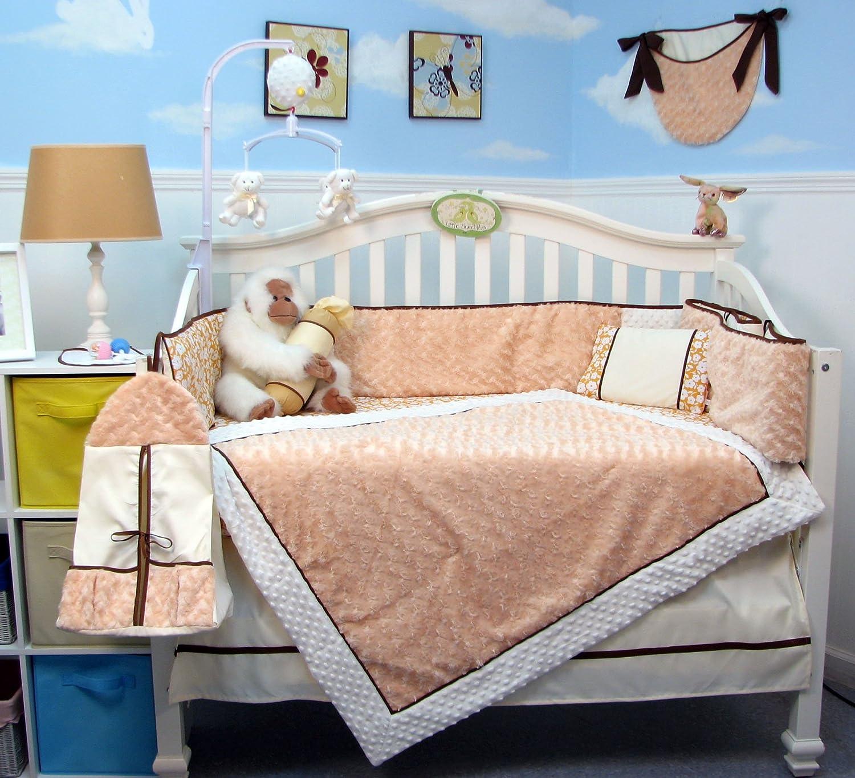 SOHO Peach Mini Roses Minky Chenille Crib Nursery Bedding Set 14 pcs by SoHo Designs   B00MS2X8PW