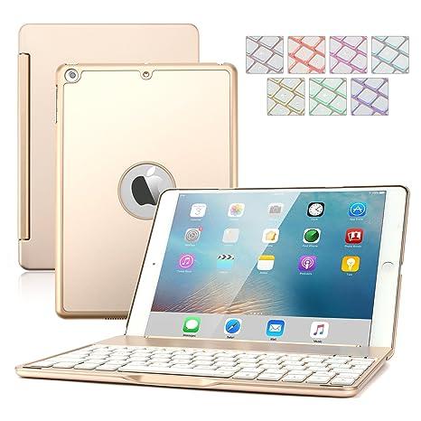 iPad aire 2 Teclado caso, dingrich 7 colores retroiluminación LED Ultra delgada aleación de aluminio