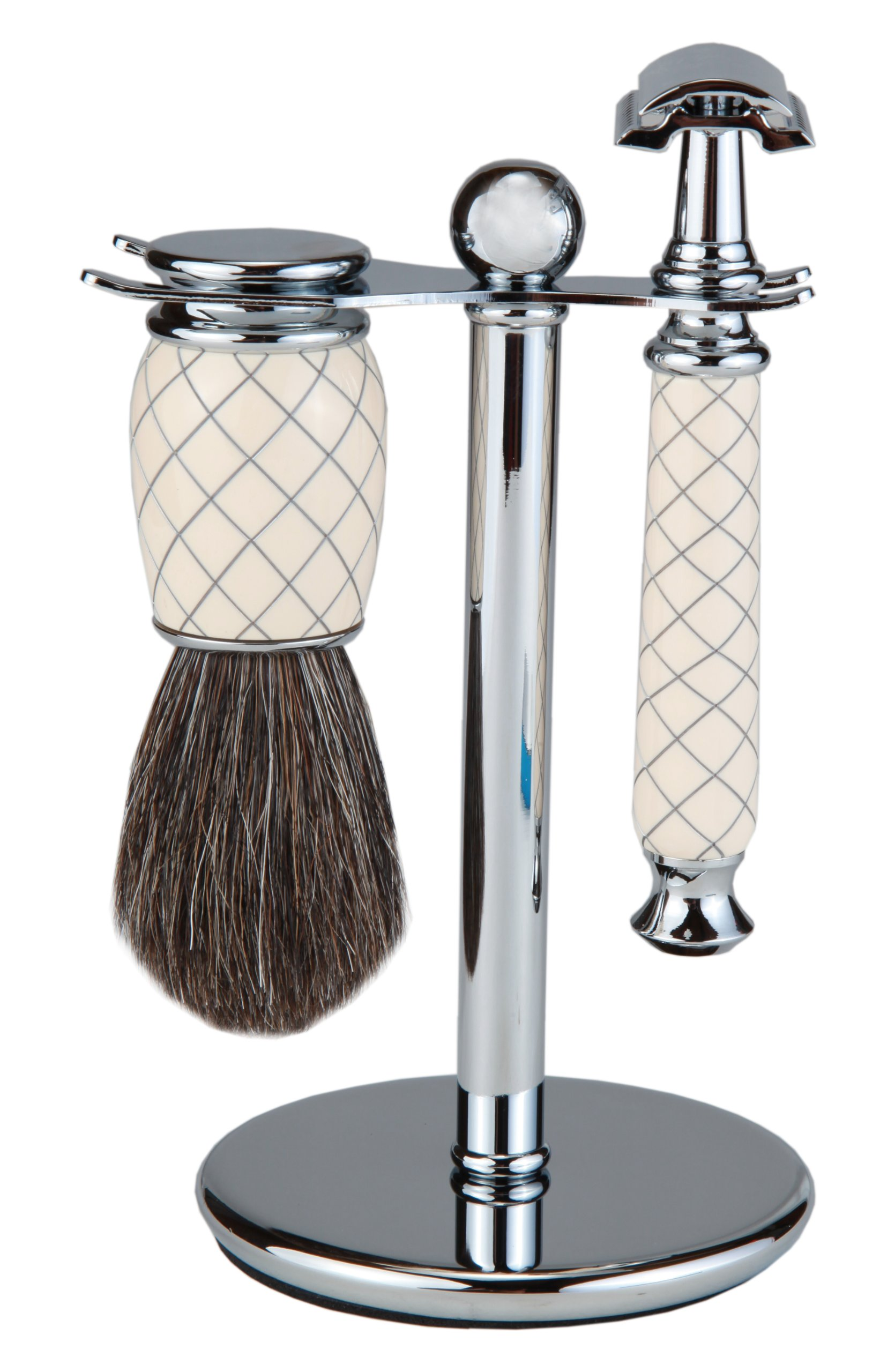 Shaving Gift Set With Safety Razor, 100% Badger Hair Shaving Brush, And All Metal Stand. Great Gift Item For Boyfriend, Husband, Or Father (White Criss Cross)