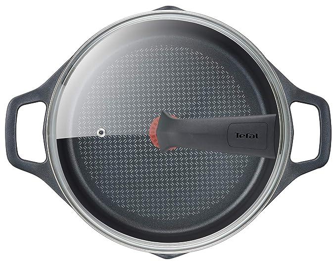 Tefal Aroma - Olla de 28 cm aluminio fundido y tapa, antiadherente revestimiento de titanio, con picos vertedores, apta para todo tipo de fuegos ...