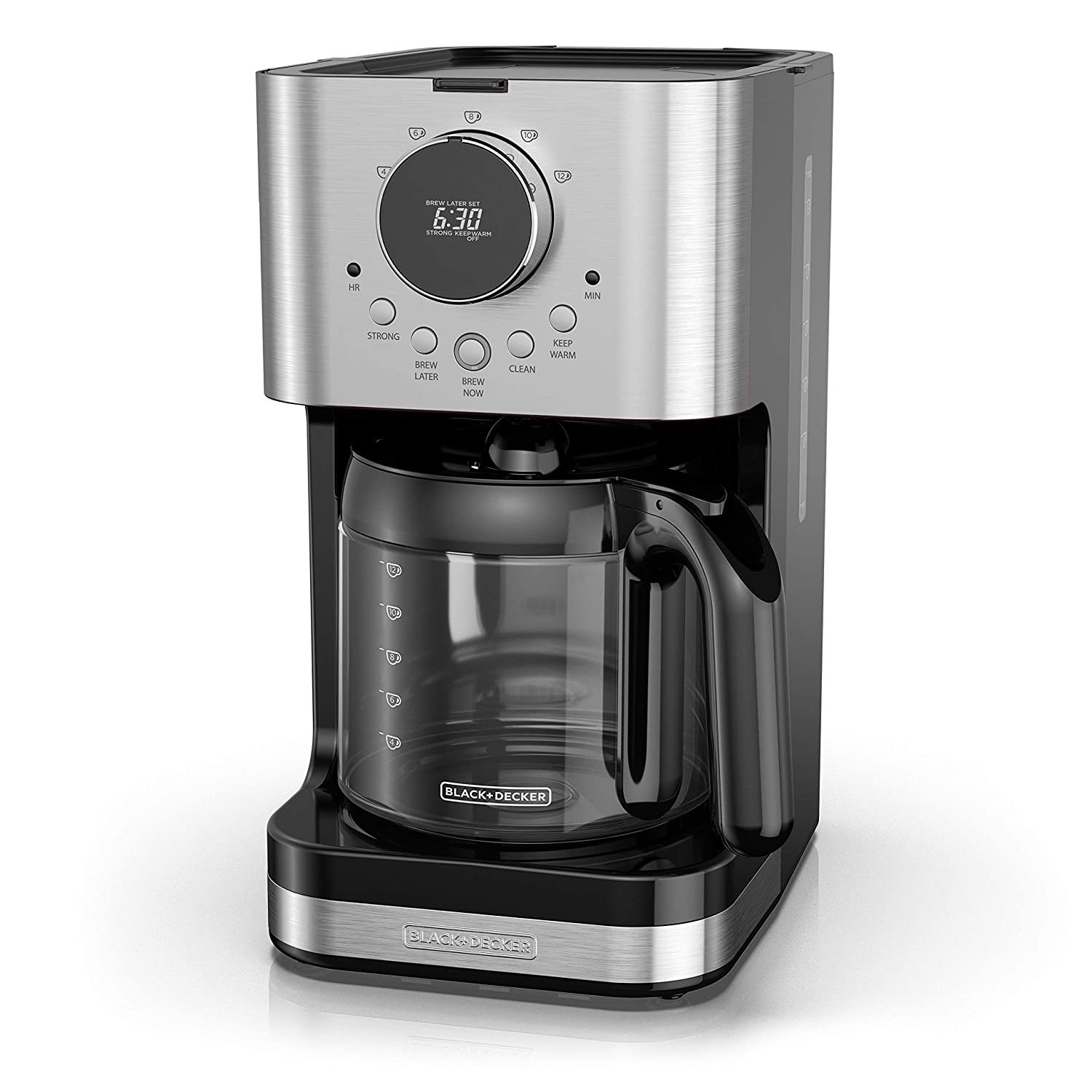 BLACK+DECKER CM4202S Select-A-Size Easy Dial Programmable Coffeemaker Extra Large 80 ounce Capacity Stainless Steel