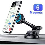 Magnetic Car Phone Mount, Ainope Dashboard Car Holder 6 Strong Magnets Car Cradle Mount Adjustable Car Windshield Universal Holder Compatible iPhone Xs/XS MAX/8/7 Plus, Samsung Note 9/S9/S8/S7,Tablets