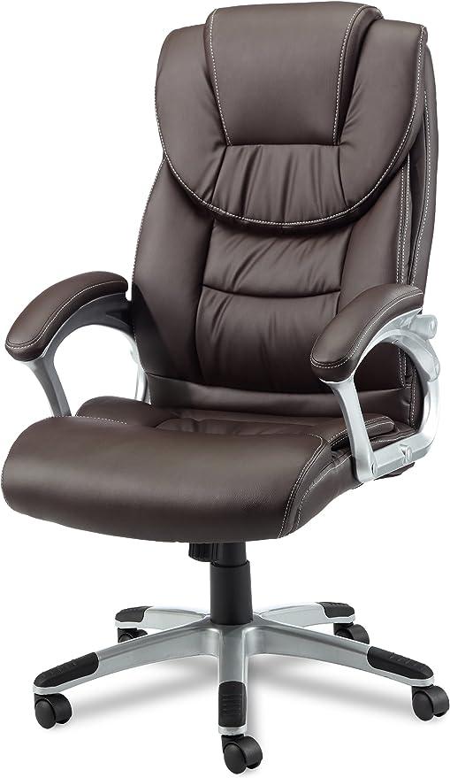 Amstyle Design Bürostuhl Madrid Bezug Kunstleder Schreibtischstuhl Design, X XL 120 kg Chefsessel Wippfunktion ergonomisch Polster Drehstuhl hohe