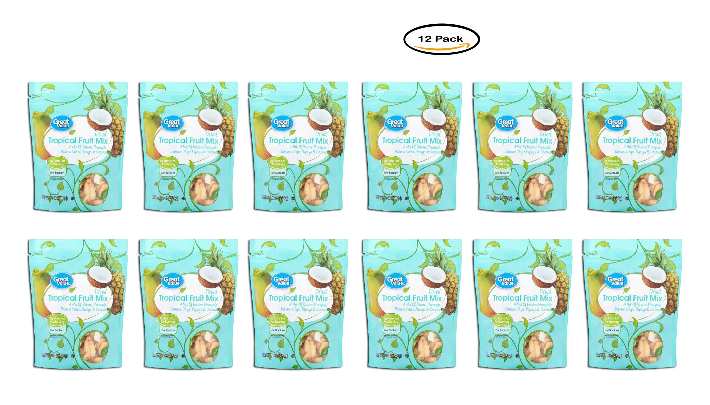 PACK OF 12 - Great Value Dried Tropical Fruit Mix, 10 oz