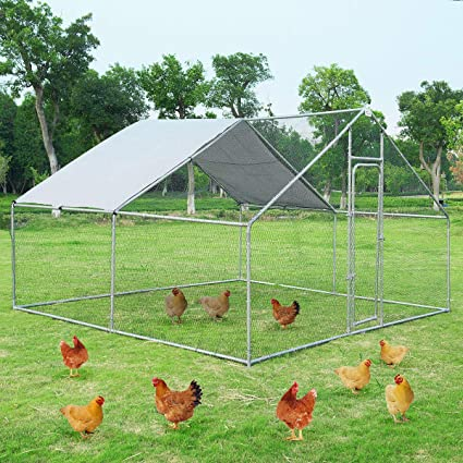 Giantex Large Metal Chicken Coop Walk-in Chicken Coops Run House Shade Cage  with Waterproof and Anti-Ultraviolet Cover for Outdoor Backyard Farm Use