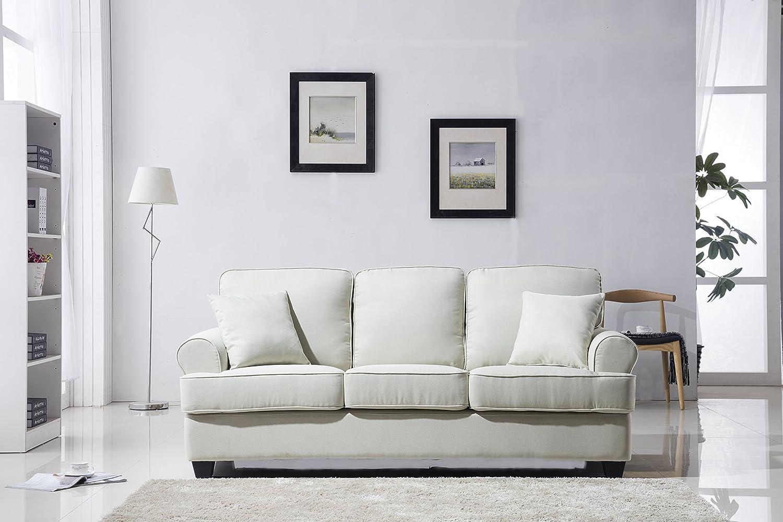 Amazon.com: Classic Plush Fabric Sofa - Living Room Furniture (Beige ...