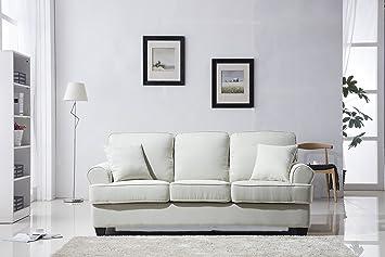 amazon com classic plush fabric sofa living room furniture beige