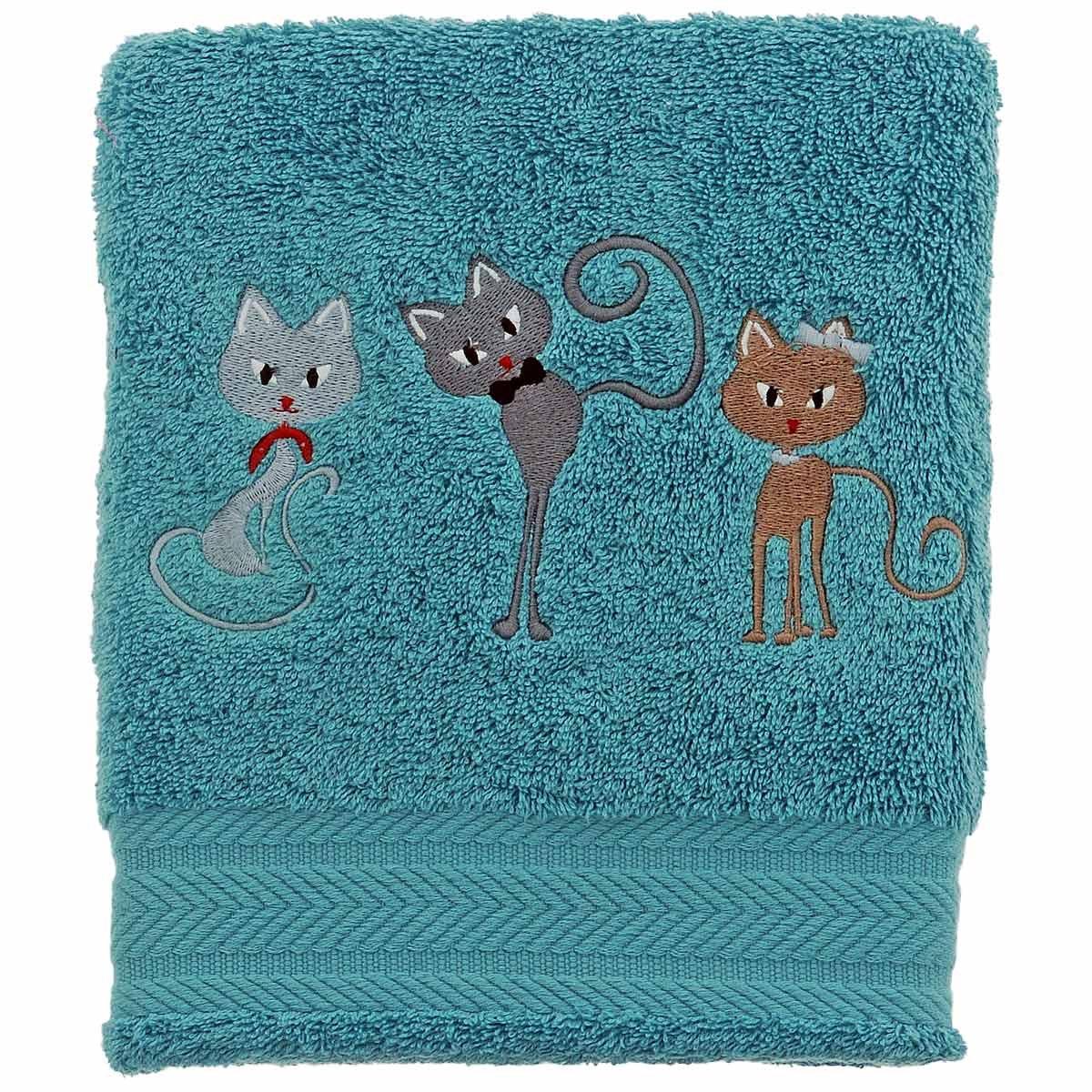 Toalla invitados 30x 50cm bordado Cats, Aqua, 30 x 50 SENSEI La Maison du Coton