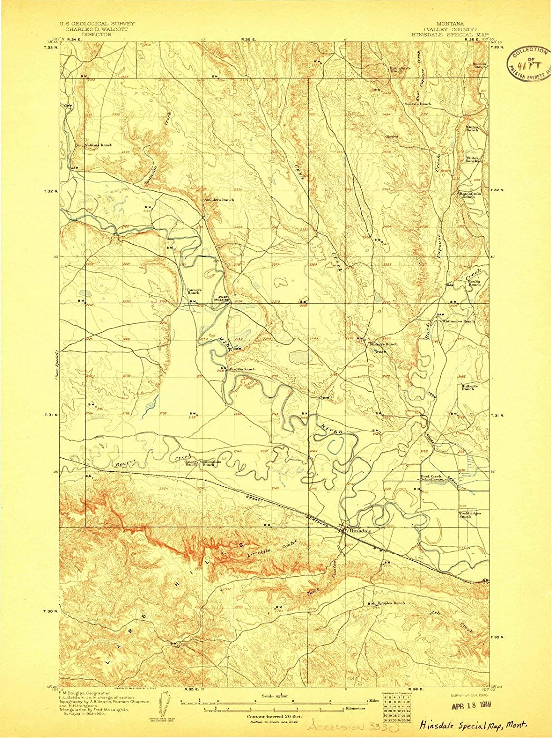 Amazon.com: Montana Maps | 1906 Hinsdale Special Map, MT ...