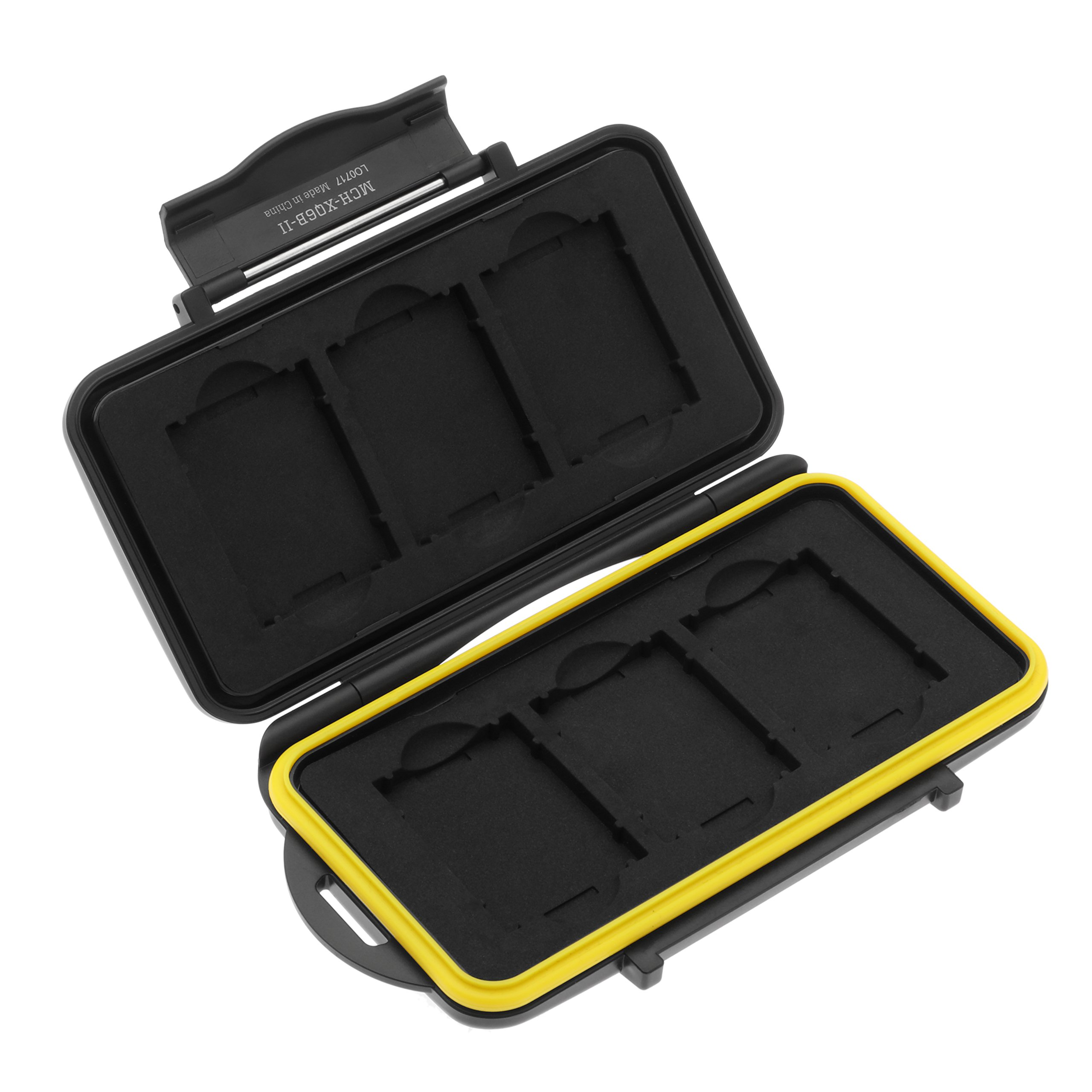 Ruggard Weather-Resistant Memory Card Case Protector from Moisture and Dust - Durable Memory Card Holder and Memory Card Organizer for 6 XQD Cards, MCH-XQ6B-II Model (Black)