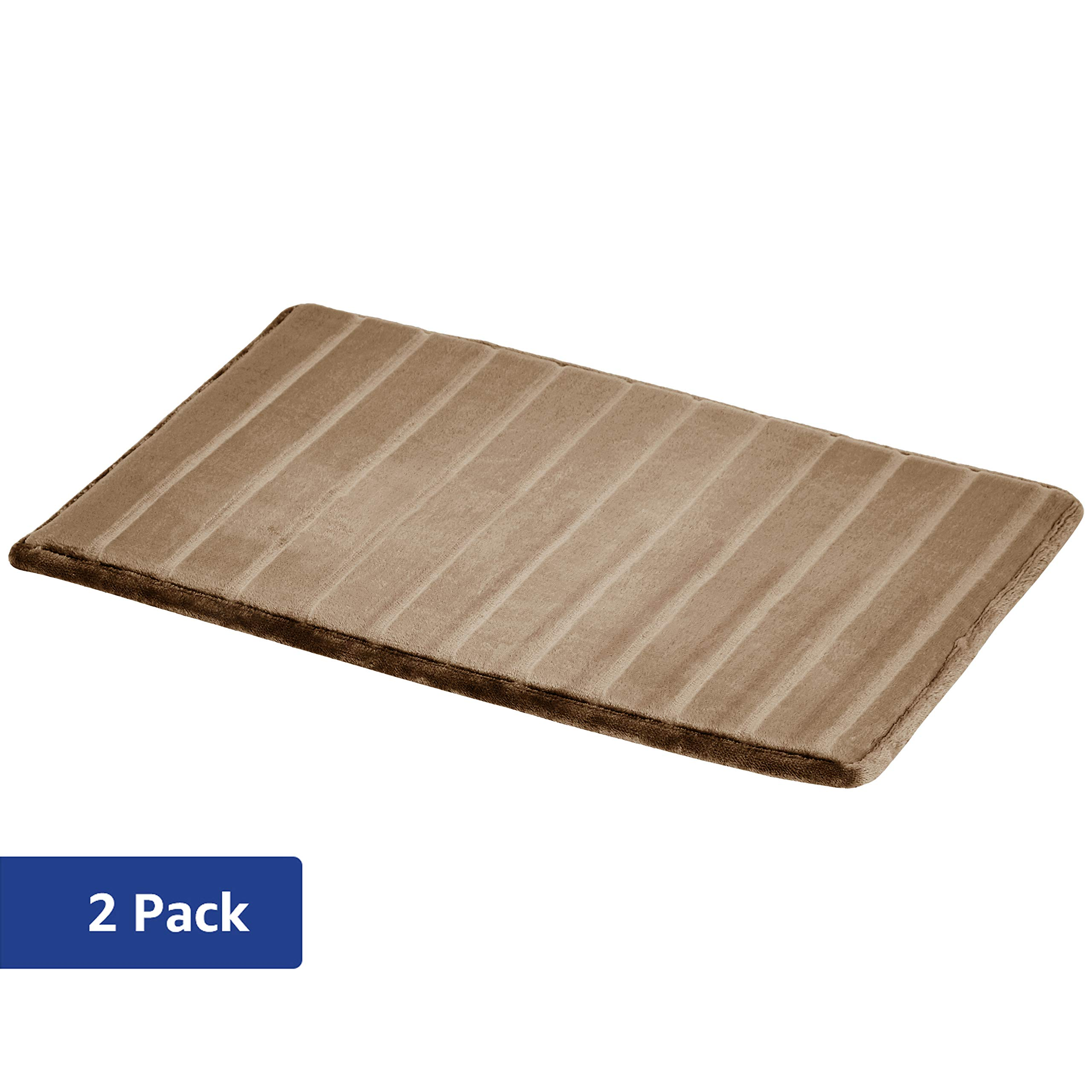 AmazonBasics Striped Memory Foam Bath Mat - Tan, Small, 2-Pack