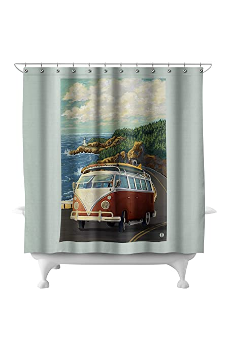 VW Van On Coast 71x74 Polyester Shower Curtain