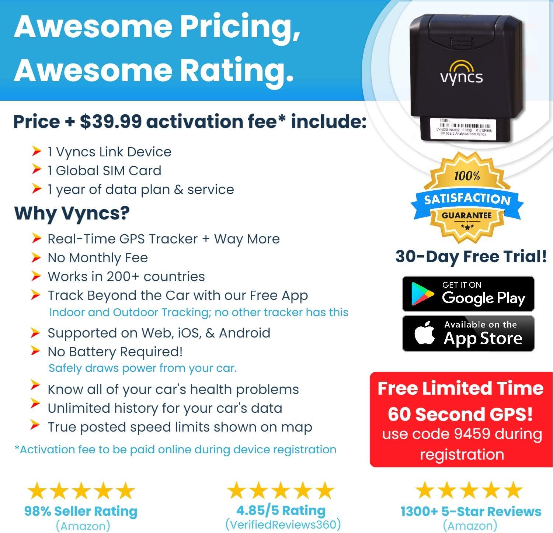Amazon Com Gps Tracker For Vehicles Vyncs No Monthly Fee Real Time Tracker 1 Yr Data Plan Usa Global Sim Car Truck Tracker Obd Trips Driver Alert Engine Data Teens Seniors Family Fleet Alexa