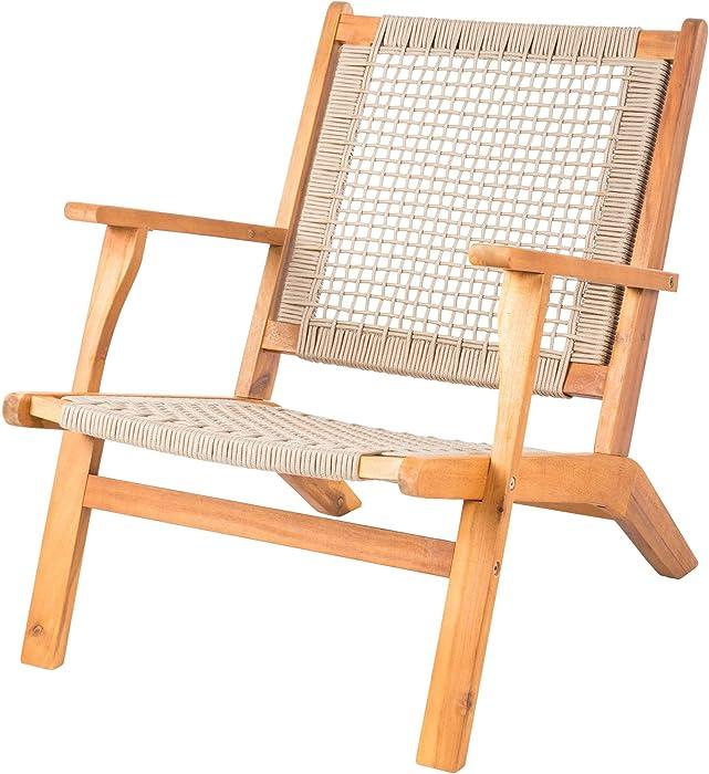 Patio Sense Vega Natural Stain Outdoor Chair | Acacia Wood Construction | Woven Web Seat | Mid Century Design | Comfortable Reclining Armchair for Porch, Patio, Lawn, Garden, Backyard, Pool, Deck