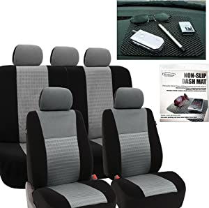 FH Group FH-FB060115 Trendy Elegance Car Seat Covers Gray/Black, Airbag Compatible and Split Bench FH1002 Non-Slip Dash Grip Pad - Fit Most Car, Truck, SUV, or Van