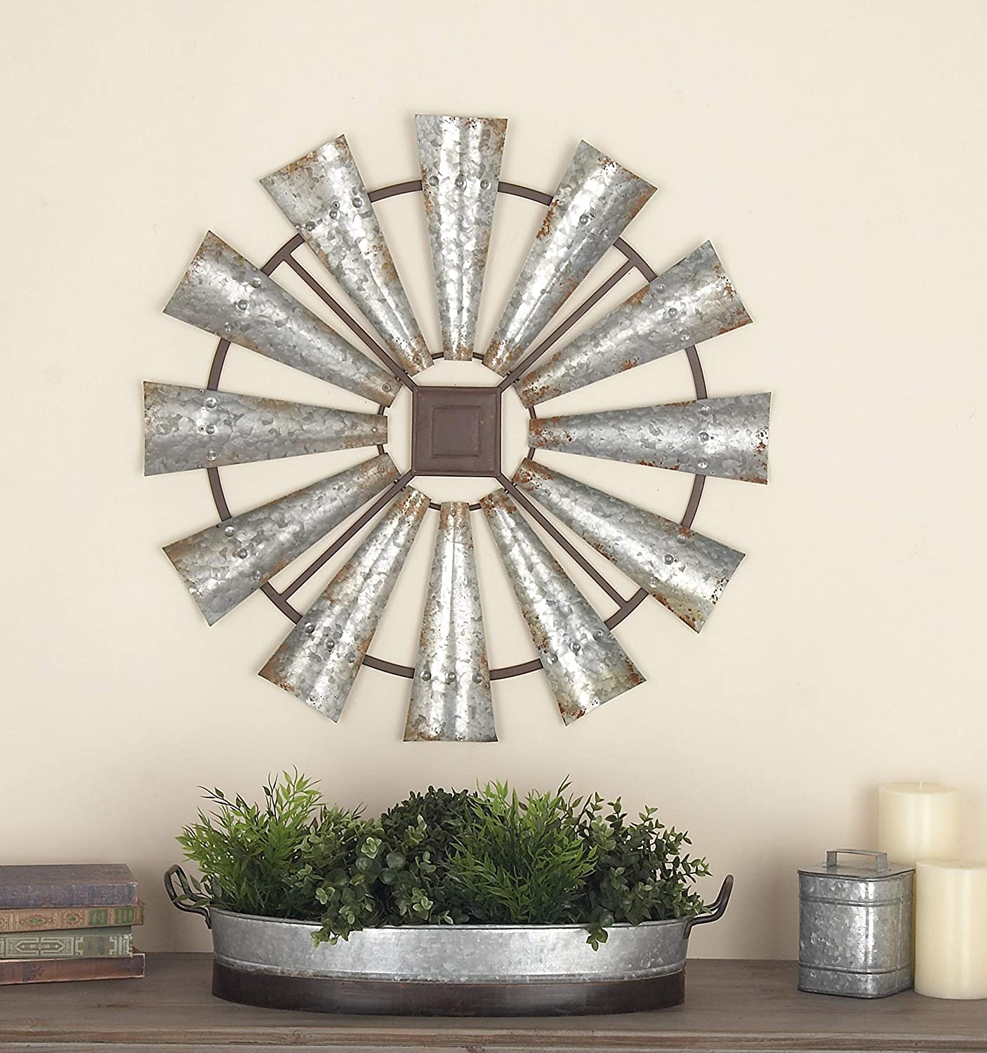 Deco 79 Indoor/Outdoor Large Brown & Silver Metal Windmill Fall Summer, Farmhouse Wall, Patio Decor, 30x1x30, Black/Gray
