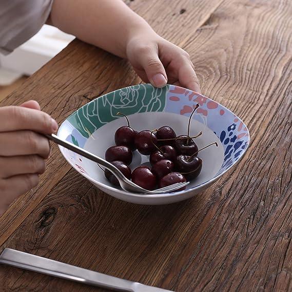 VEWEET Olina Vajillas de 40 Piezas Juegos de Porcelana con 8 Hueveras, 8 Tazas Mugs 350 ml, 8 Cuencos de Cereales, 8 Platos y 8 Platos de Postre para ...