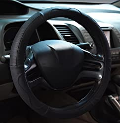 Rueesh Steering Wheel Cover - Genuine Leather, Sporty Curves, Durable, Anti-Slip, 15 inch Middle Size - Black with Black Lines