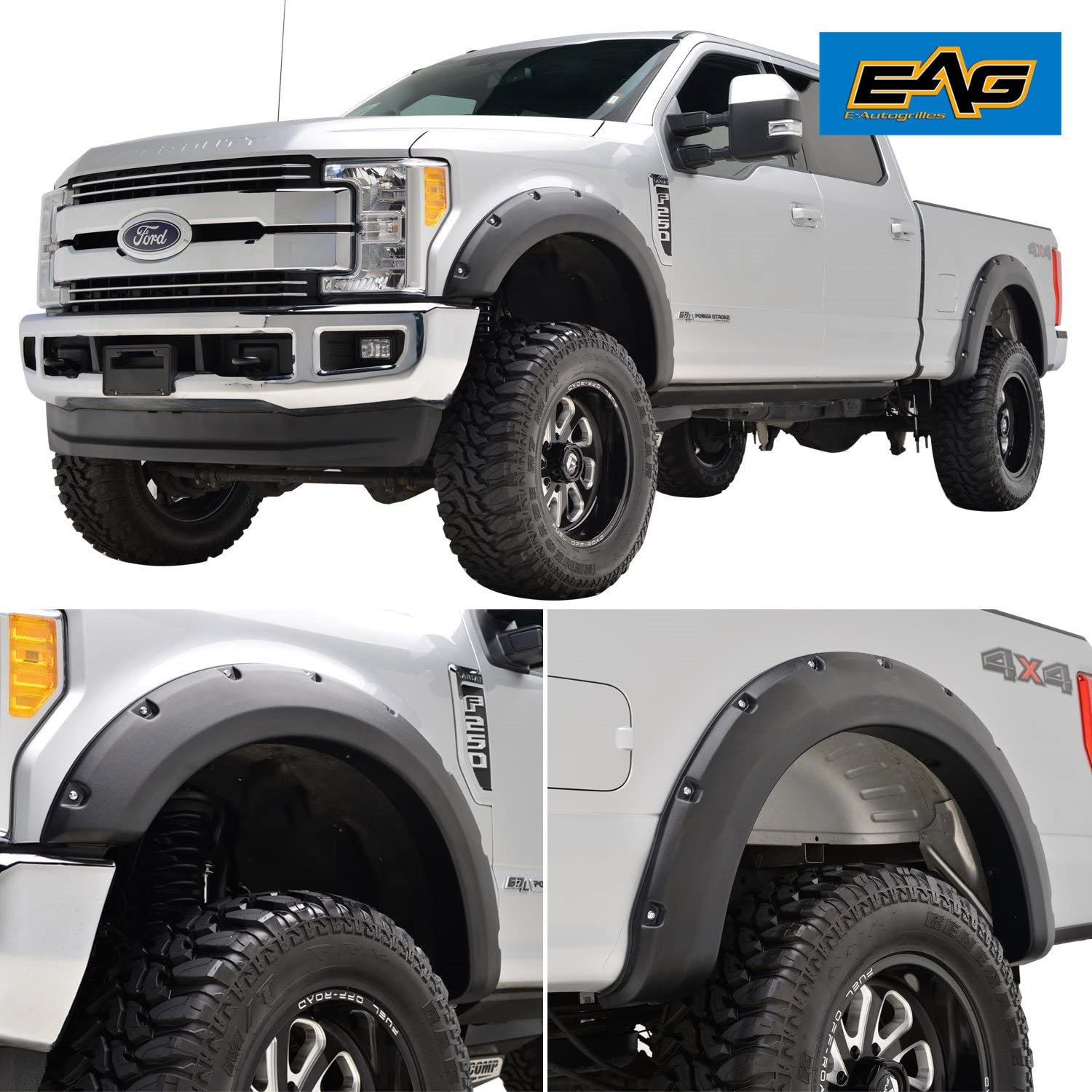 Amazon Com Eag Fender Flares 4pcs Set Pocket Rivet Style Fit For 17 18 F 250 F 350 Super Duty Automotive