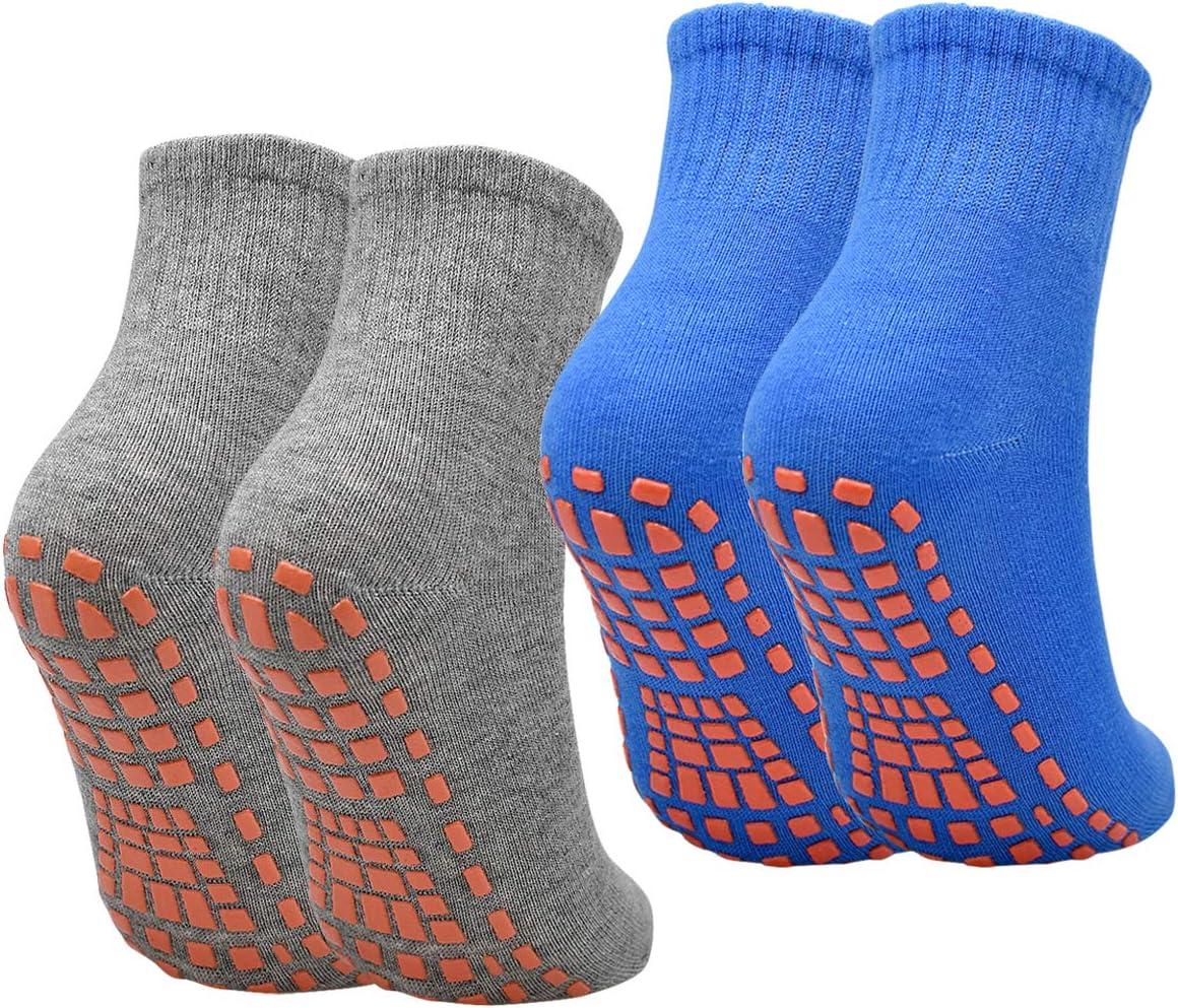 4 Paia Calzini Antiscivolo per Donna Uomo Taglia EU 40-45 Casa Pilates Calze Cotone Adulto con Grips per Yoga