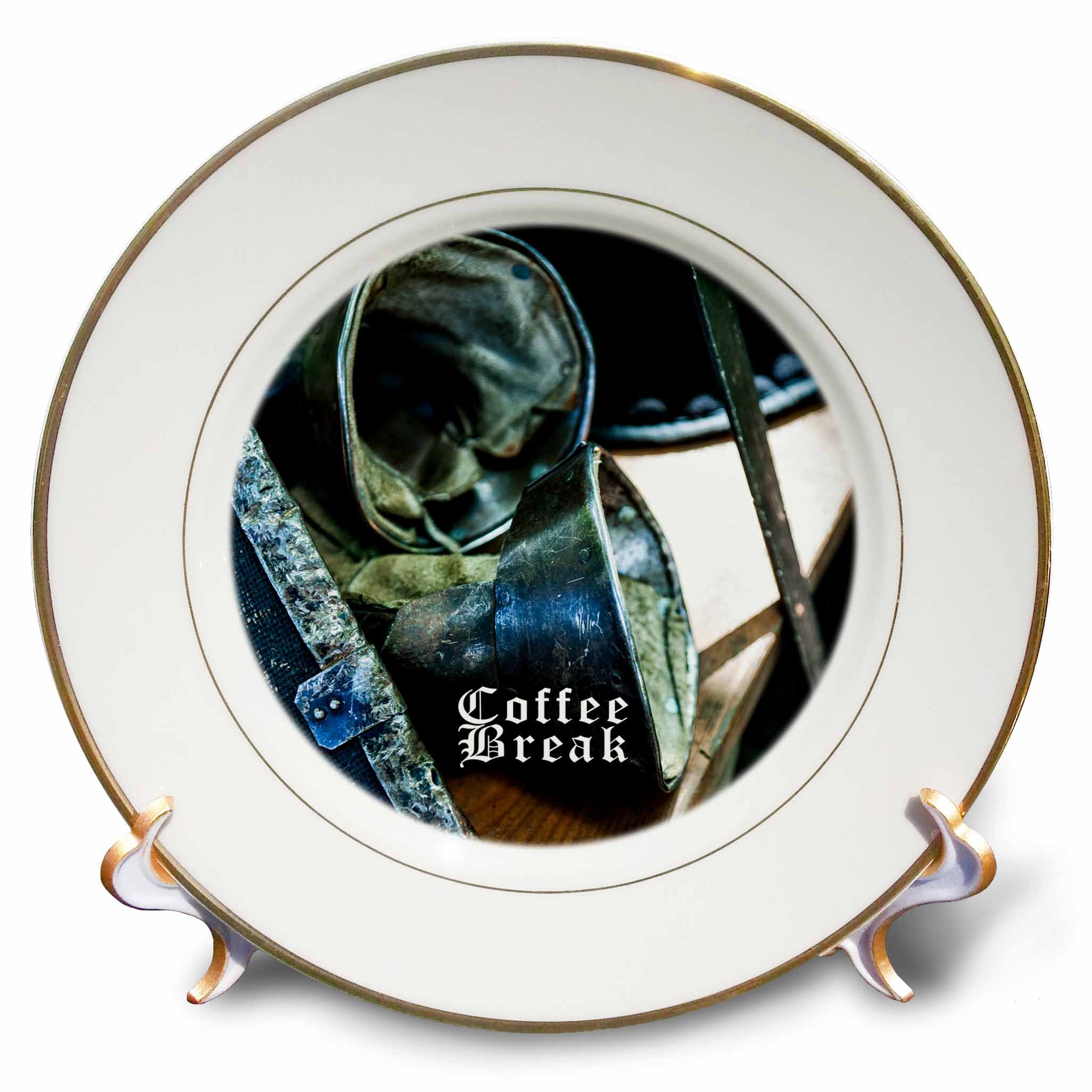 3dRose Alexis Photography - Objects Armor - Medieval shield, combat metal gloves, sword. Coffee break - 8 inch Porcelain Plate (cp_271938_1)
