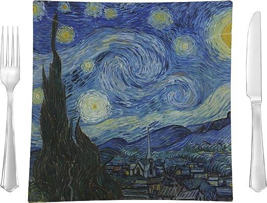 La noche estrellada (Van Gogh 1889) cuadrado plato llano: Amazon ...