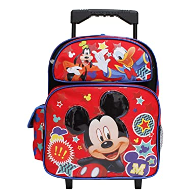 616b772851 Disney Mickey Mouse Goofy & Duck Red & Black Children's Small Rolling  School Backpack