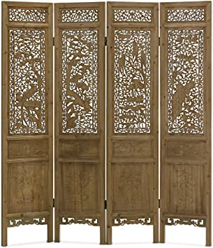 Four Panel Black Folding Floor Screen with Floral Motif
