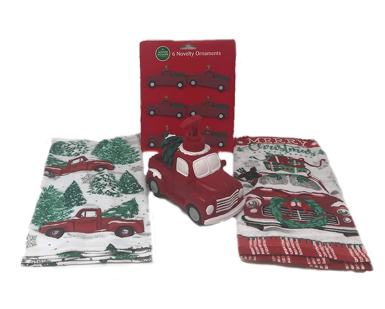 Old Red Truck With Christmas Tree In Back.Amazon Com Vintage Red Truck Decoration Bundle Includes 1