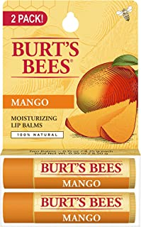product image for Burt's Bees 100% Natural Moisturizing Lip Balm, Mango with Beeswax & Fruit Extracts - 2 Tubes