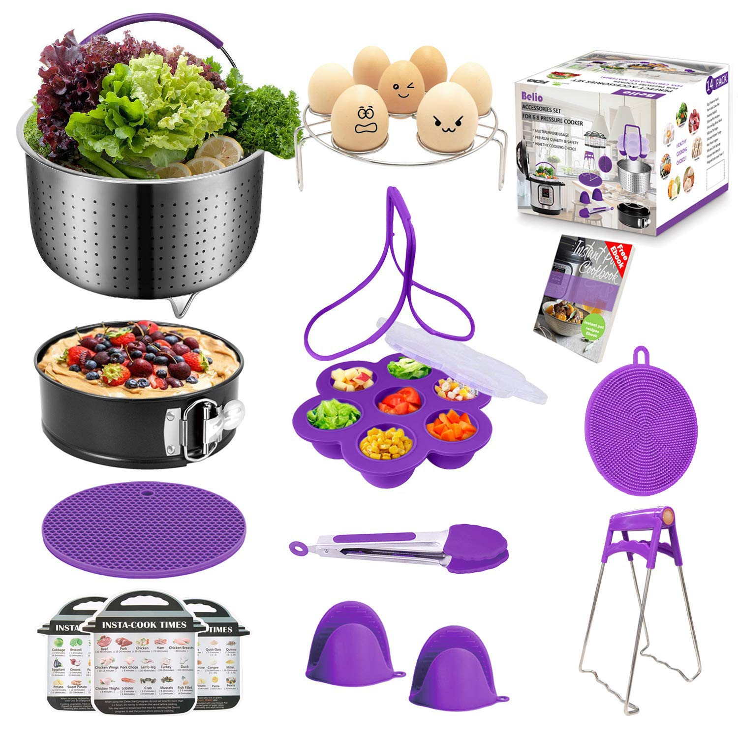 Belio 14 Pcs Pressure Cooker Accessories Set Compatible with Instant Pot 5,6,8 Qt-Include Steamer Basket,Springform Pan,Egg Bites Mold,Oven Mitts,Cheat Sheets, Silicone Scrubber,etc.