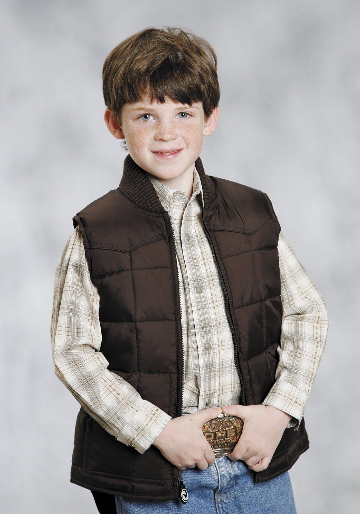 Roper Boys' Rangegear Quilted Nylon Vest Brown Small