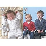 King Cole Baby Sweater, Cardigan & Teddy Bear DK Knitting Pattern 2768 by King Cole