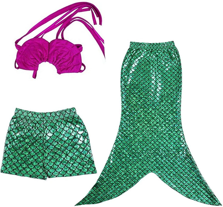 LAKAYA Kid Girls 3 Pcs Mermaid Tail Swimmable Princess Bikini Swimsuit Swimwear