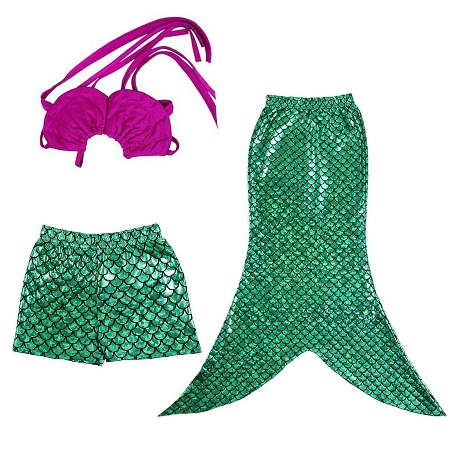 LAKAYA Kid Girls 3 Pcs Mermaid Tail Swimmable Princess Bikini Swimsuit Swimwear