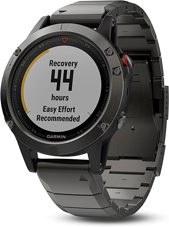 Garmin fenix 5, Premium and Rugged Multisport GPS Smartwatch, Sapphire Glass, Slate Gray w/ Metal Band, (Renewed)