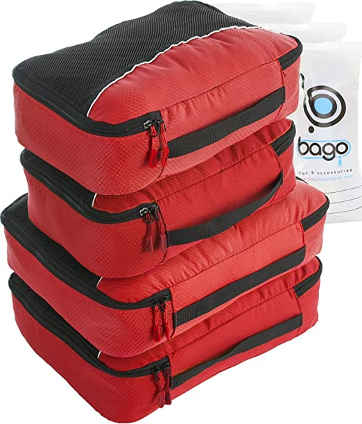 168 opinioni per 4Pz Bago Cubi Di Imballaggio- Set per Viaggi (2+2-Red)+ 6Pz Sacchetti