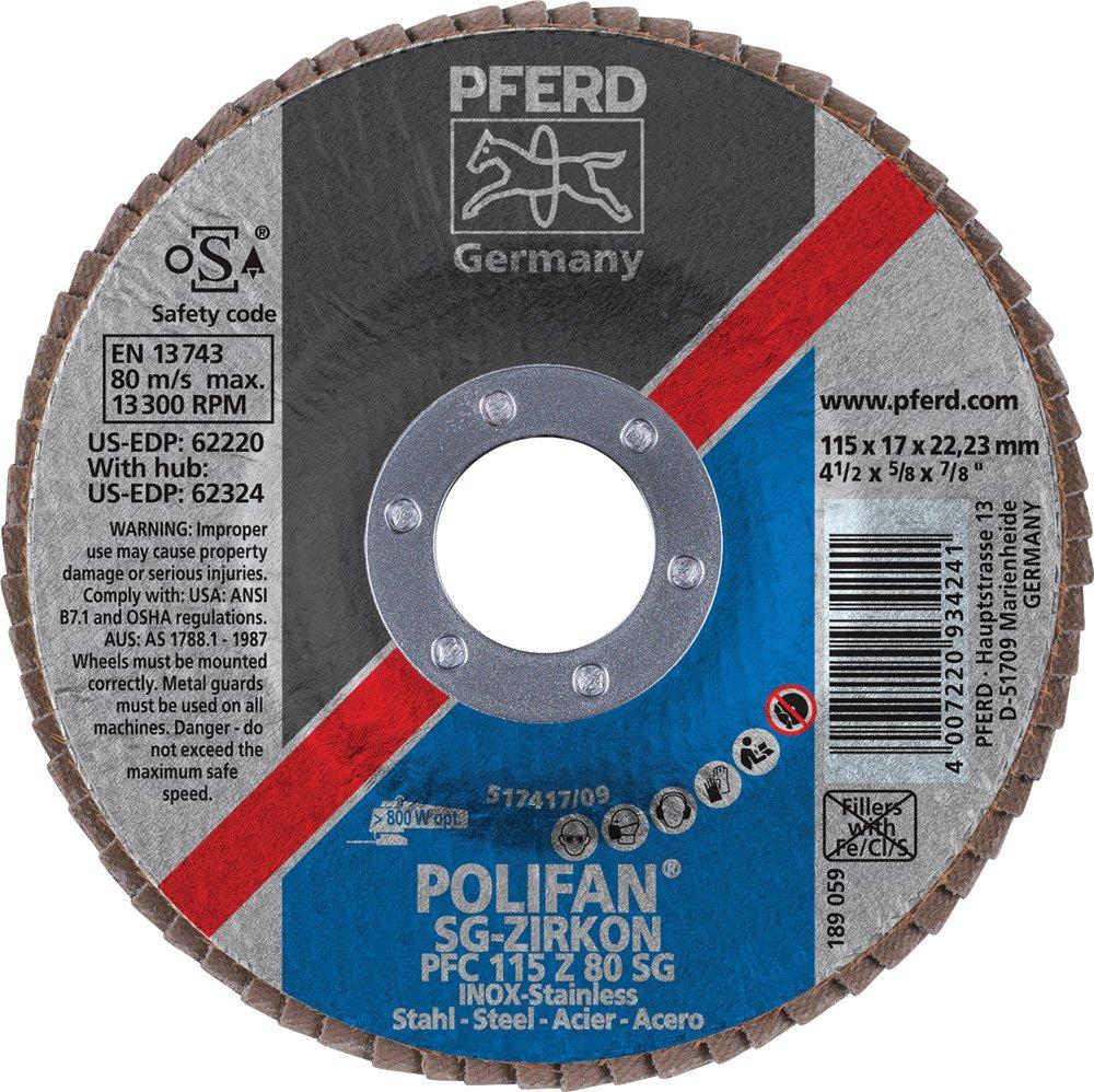 PFERD 62220 Polifan SG Zirkon PFC Type 29 Conical Flap Disc 4-1//2 Diameter 80 Grit 4-1//2 Diameter 7//8 Arbor Hole PFERD Inc. 13300 rpm 7//8 Arbor Hole Zirconia Alumina