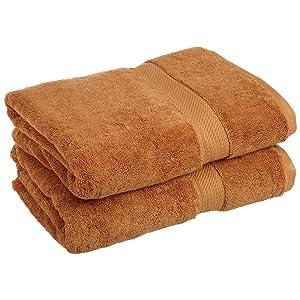 Superior Luxury Cotton Bath Towel Set - 2-Piece Towel Set, 900 GSM, Long-Staple Cotton Towels, Rust