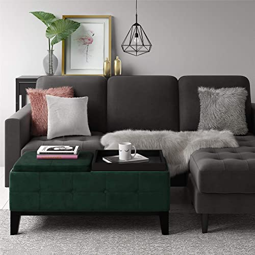 CosmoLiving by Cosmopolitan Diego Green Velvet Fabric Storage Ottoman with Removable Serving Trays