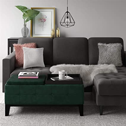 Amazoncom Cosmoliving Diego Green Velvet Fabric Storage Ottoman