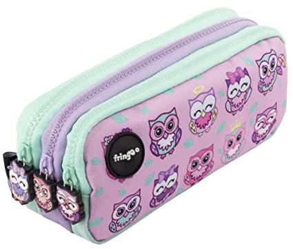 Estuche para lápices de 3 compartimentos FRINGOO, para niños, divertido y bonito, color Owl Family - 3 Compartments Large