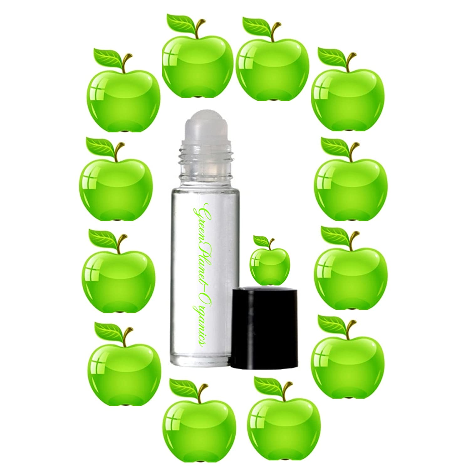 Set of 2: Green Apples Perfume Oil (Sparkling, Tangy & Uplifting Scent) .33oz x2