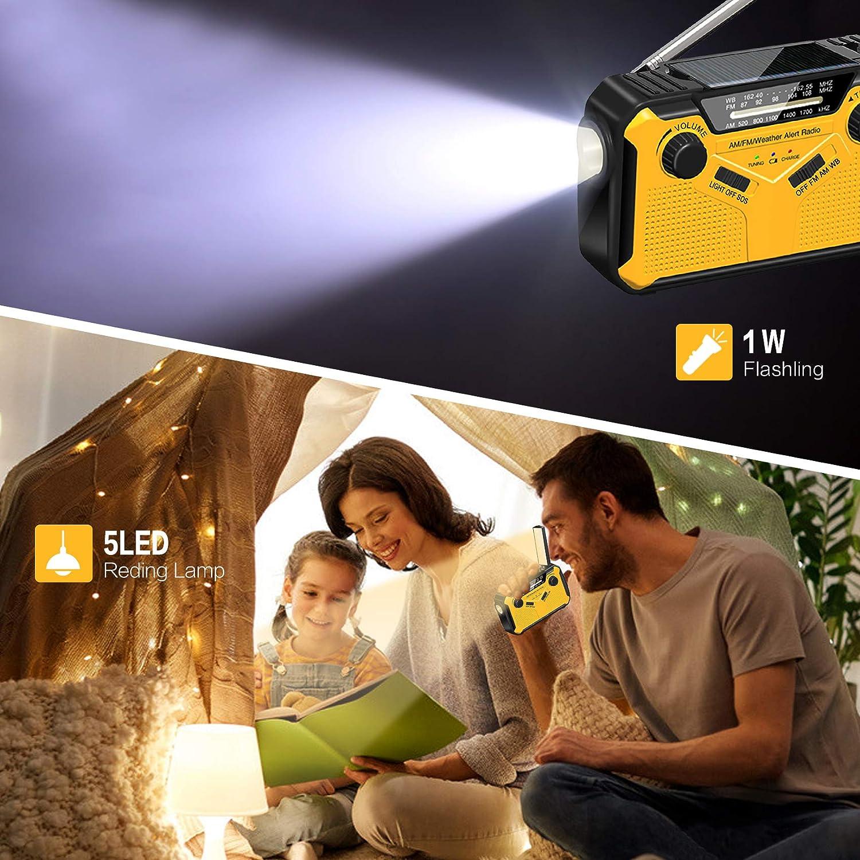 2W Reading Lamp Emergency-Radio Solar Hand Crank-Flashlights Weather-Radio : Ldcx AM|FM|WB|NOAA Weather Alert Survival Radio w//Flashlight SOS Alarm Cell Phone Charger 2500mAh Power Bank