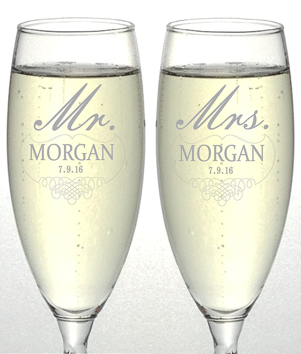 Amazon.com | Set of 2 Personalized Wedding Champagne Flutes- Mr and ...